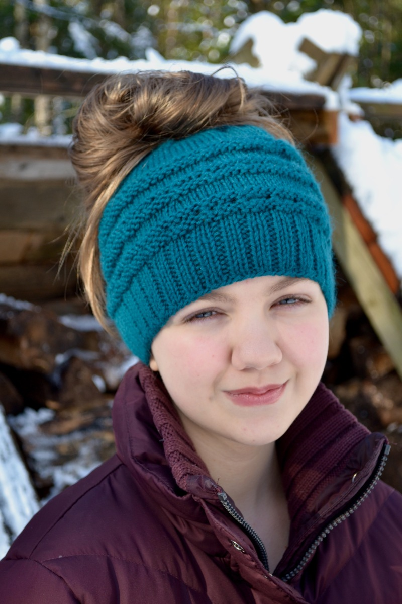 Eyelet Messy Bun Hat Pattern